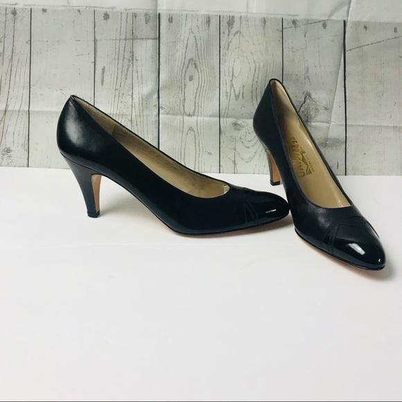 6217c83ecd711 Salvatore Ferragamo Shoes | Ferragamo Patent Tip Black Heels Narrow ...